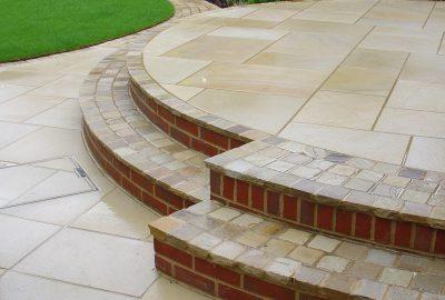 Paved platform in garden