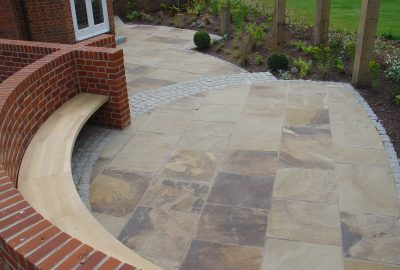 Domestic paved area in garden