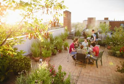 Young adults celebrating a party on roof garden, barbecue, lens flare, back lit