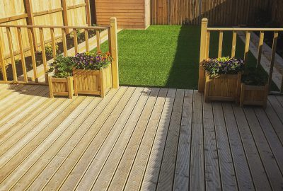 Lawn in front of decking