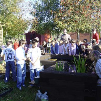 Peaceful Paradise Wildlife Garden with school children looking into planting pot