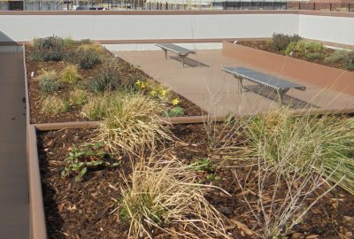 Roof garden with podiums