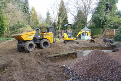 Site clearance with plant machinery