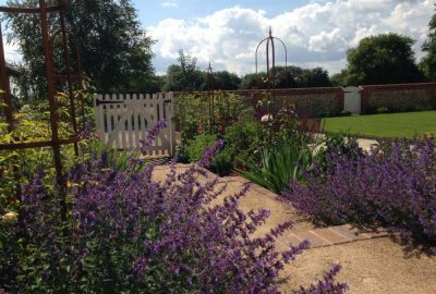 Soft landscaping of front garden path and gate