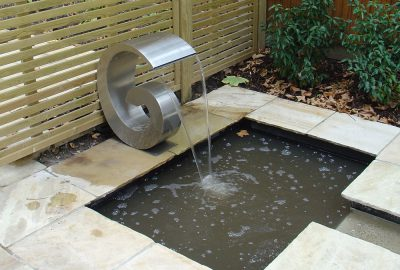 Small water feature in garden
